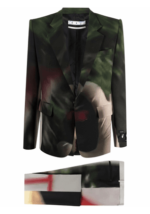 Off-White abstract-print single-breasted suit - Green