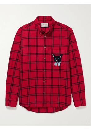 Gucci - Oversized Button-Down Collar Appliquéd Checked Wool-Blend Flannel Shirt - Men - Red - IT 44