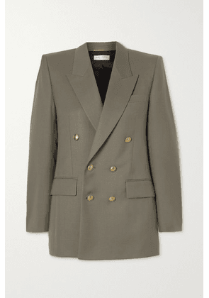 SAINT LAURENT - Double-breasted Wool-twill Blazer - Gray