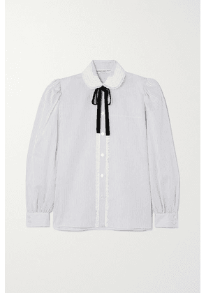 Alessandra Rich - Striped Lace And Velvet-trimmed Cotton-poplin Blouse - White