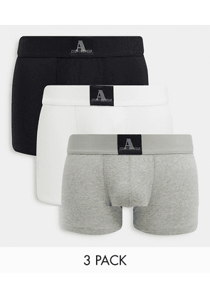 ASOS DESIGN Two Mile 3 pack trunks in black grey and white-Multi