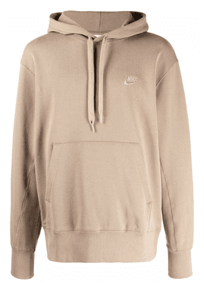 Nike embroidered logo cotton hoodie - Brown