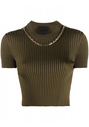 Givenchy chain-detail knit cropped top - Green