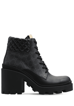 90mm Trip Leather & Canvas Boots
