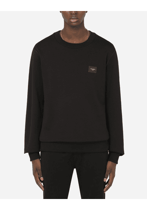 Dolce & Gabbana Collection - Jersey sweatshirt with branded plate Black male 60