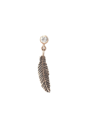 Kismet By Milka 14ct Rose Gold And Diamond Feather Earring (single)