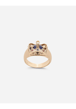 Dolce & Gabbana Jewelry - Crown yellow gold ring with lapislazzuli on the inside Gold male 56