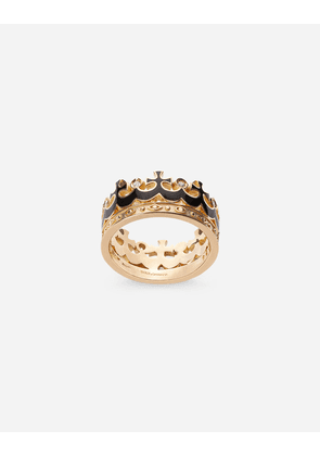 Dolce & Gabbana Jewelry - Crown yellow gold ring with black enamel crown and diamonds GOLD male 62