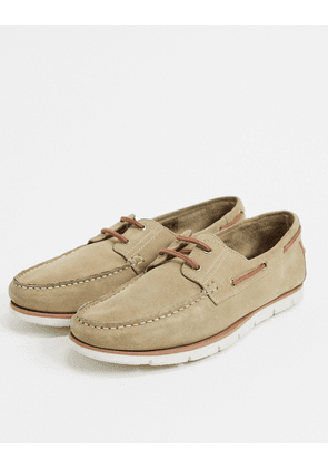 ASOS DESIGN boat shoes in stone suede with white sole-Neutral