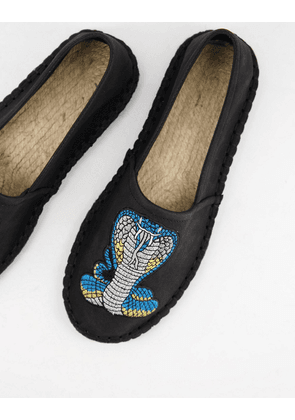 ASOS DESIGN espadrille in black with snake embroidery