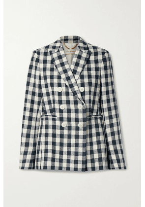 Tory Burch - Double-breasted Gingham Linen Blazer - Navy