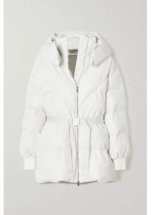 Stella McCartney - Kayla Belted Hooded Quilted Vegetarian Leather Coat - White