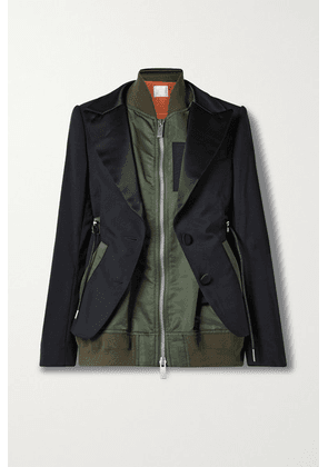 Sacai - Layered Satin-trimmed Shell And Crepe Jacket - Army green