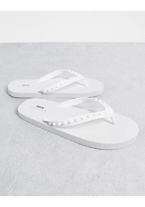 ASOS DESIGN flip flop with rubber studs in white