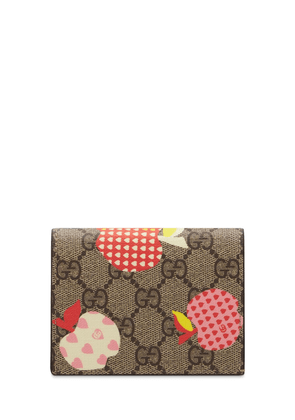 Apple Print Gg Coated Canvas Wallet