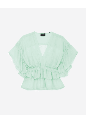 The Kooples - Flowing mint green top with frills - WOMEN