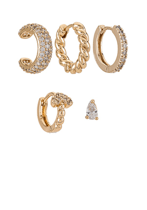 8 Other Reasons Bling Earring Set in Metallic Gold.