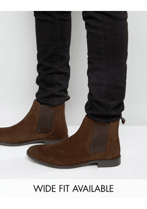 ASOS Chelsea Boots in Suede - Wide Fit Available-Brown