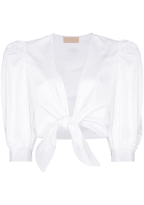 Adriana Degreas puff-sleeve tie-front blouse - White