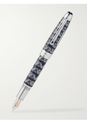 Montblanc - Meisterstück Around the World in 80 Days Solitaire LeGrand Resin and Platinum-Plated Fountain Pen - Men - Blue