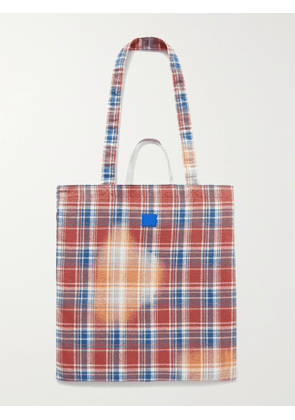 Acne Studios - Printed Checked Cotton-Flannel Tote Bag - Men - Pink
