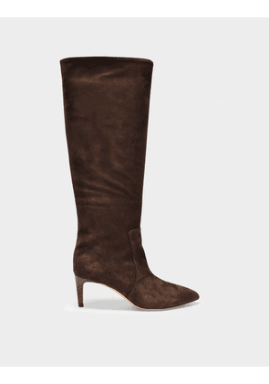 Paris Texas Stiletto Boots in Brown Suede Leather