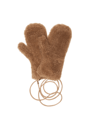 Ombrato camel hair and silk mittens