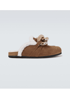 Curb chain shearling loafers