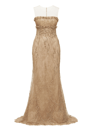 Tulle Embroidered Strapless Long Dress