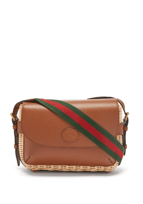 Gucci - Leather And Wicker Cross-body Bag - Mens - Tan
