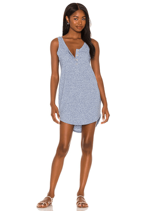 Chaser Linen Rib Henley Dress in Blue. Size XS, S, M.