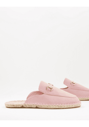 ASOS DESIGN slip on mule espadrilles in pink faux suede with snaffle