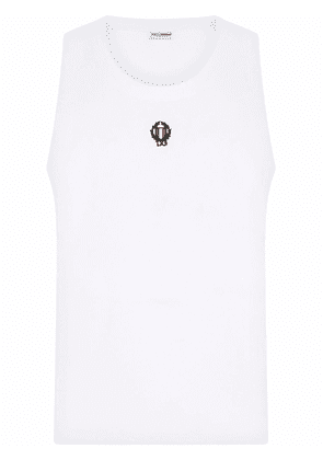 Dolce & Gabbana embroidered motif tank top - White