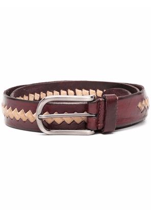 Anderson's geometric-pattern leather belt - Red