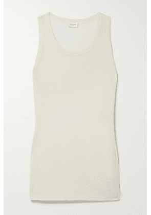 SAINT LAURENT - Ribbed Modal And Cotton-blend Jersey Tank - Off-white