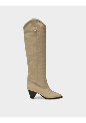 Isabel Marant Lihana Boots in Beige Suede Leather