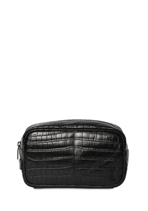 Ysl Croc Embossesd Leather Cosmetic Bag