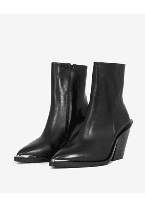 The Kooples - Cowboy-style heeled black ankle boots - WOMEN
