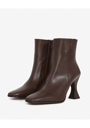 The Kooples - Burgundy leather boots with shaped heel - WOMEN