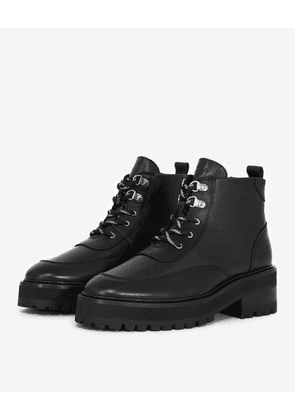 The Kooples - Flat black leather boots in ranger style - WOMEN