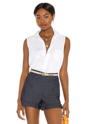 Frank & Eileen Fiona Woven Button Up Top in White. Size XS, M, L.