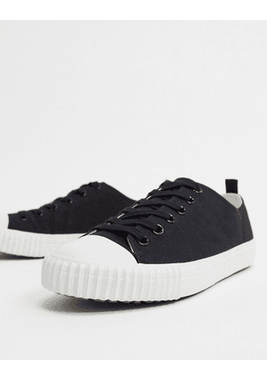ASOS DESIGN trainers in black canvas with rib sole detail-Blue