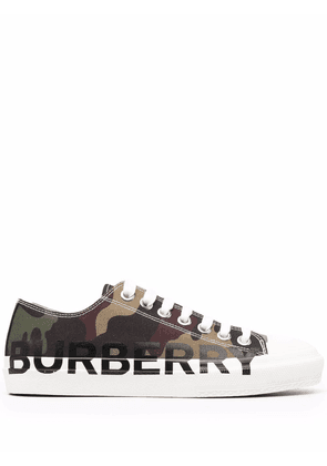 Burberry logo-print lace-up sneakers - Green