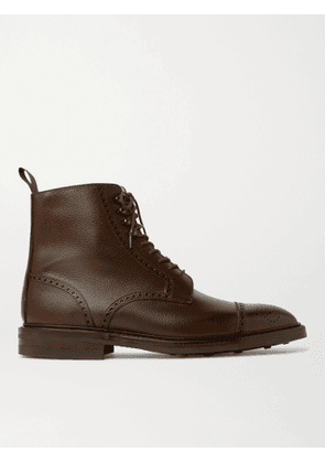 George Cleverley - Toby Pebble-Grain Leather Brogue Boots - Men - Brown - 7