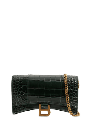 Hourglass Embossed Leather Chain Wallet