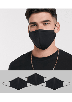 ASOS DESIGN 3 pack face covering in black jersey