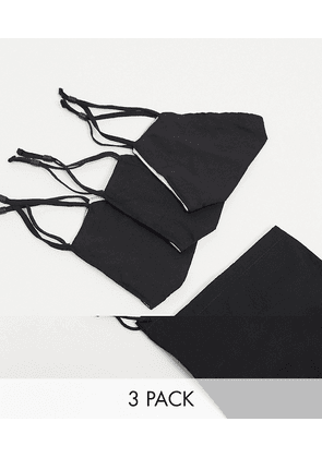 ASOS DESIGN 3 pack face covering with adjustable straps nose clip and bag in black