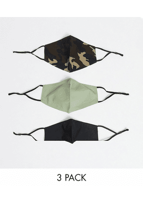 ASOS DESIGN 3 pack face coverings with adjustable straps nose clip and bag in camouflage print-Black