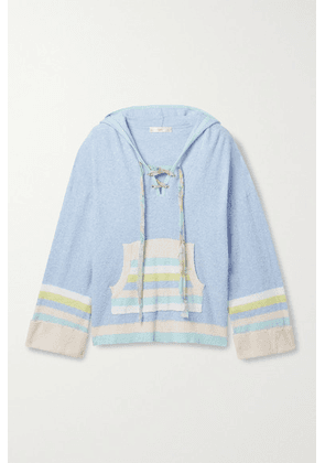 LoveShackFancy - Fenmore Lace-up Striped Terry Hoodie - Blue