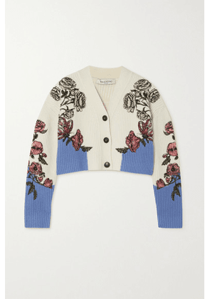 Valentino - Cropped Embroidered Ribbed Wool Cardigan - White